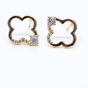 Clover Gold and Diamond Stud Earrings